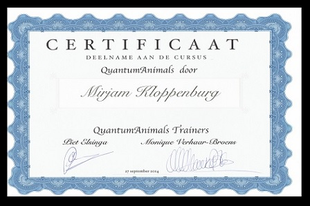 Certificaat Quantum Touch Animals - © Trimsalon Mirjam Kloppenburg